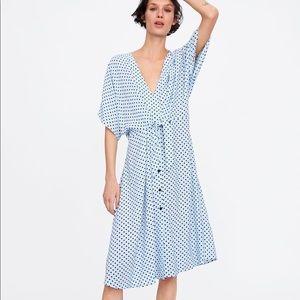 Zara Tie Waist Polka Dot Midi Dress